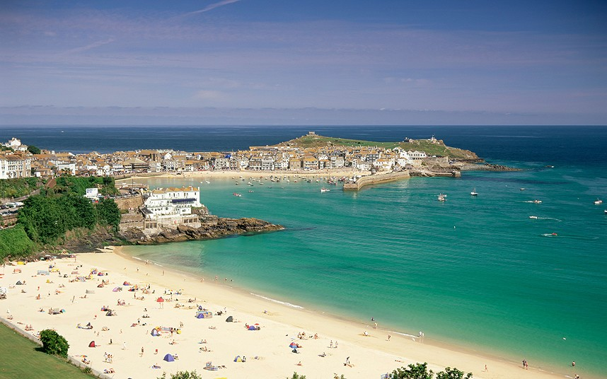 AXYBNM Porthminster beach and harbour, St. Ives, Cornwall, England, United Kingdom, Europe