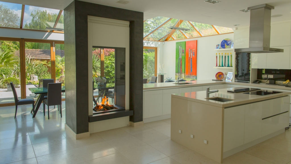 kitchen with designer fireplace